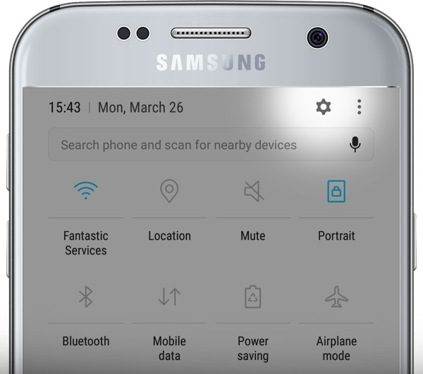 Android phone quick settings menu - settings