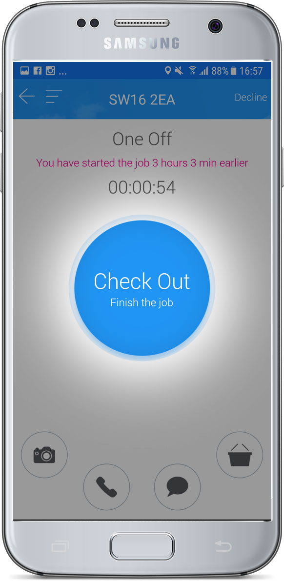 Job check out screen - Finish the job button