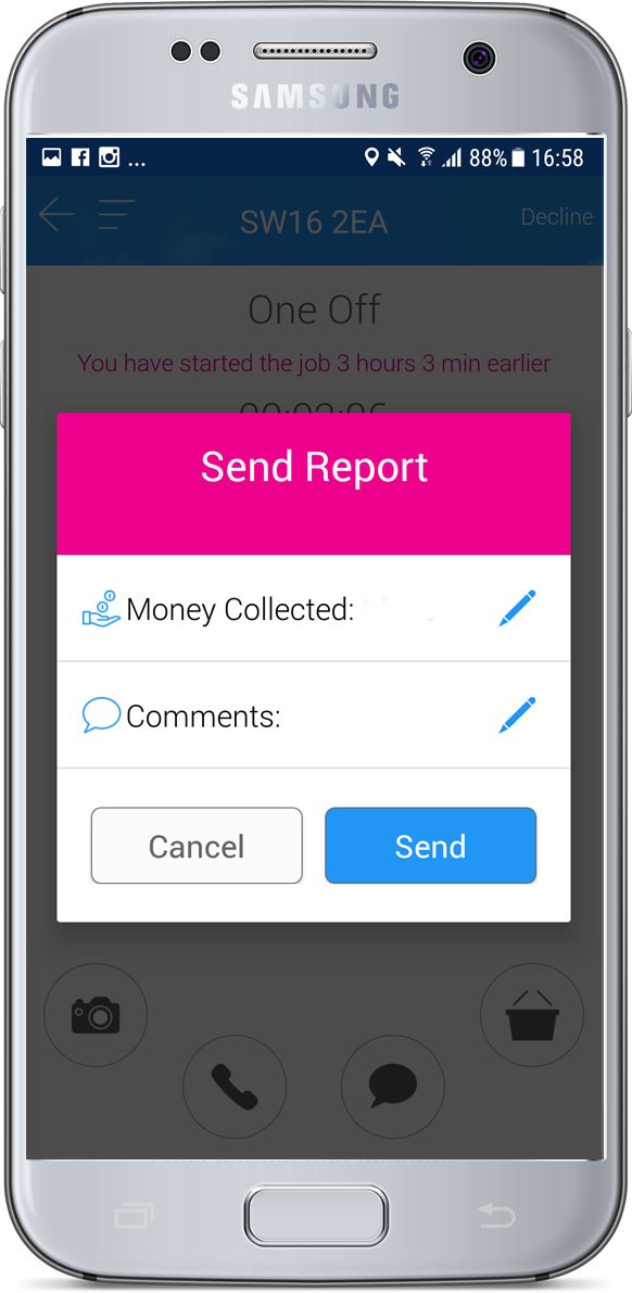 Job check out report pop-up