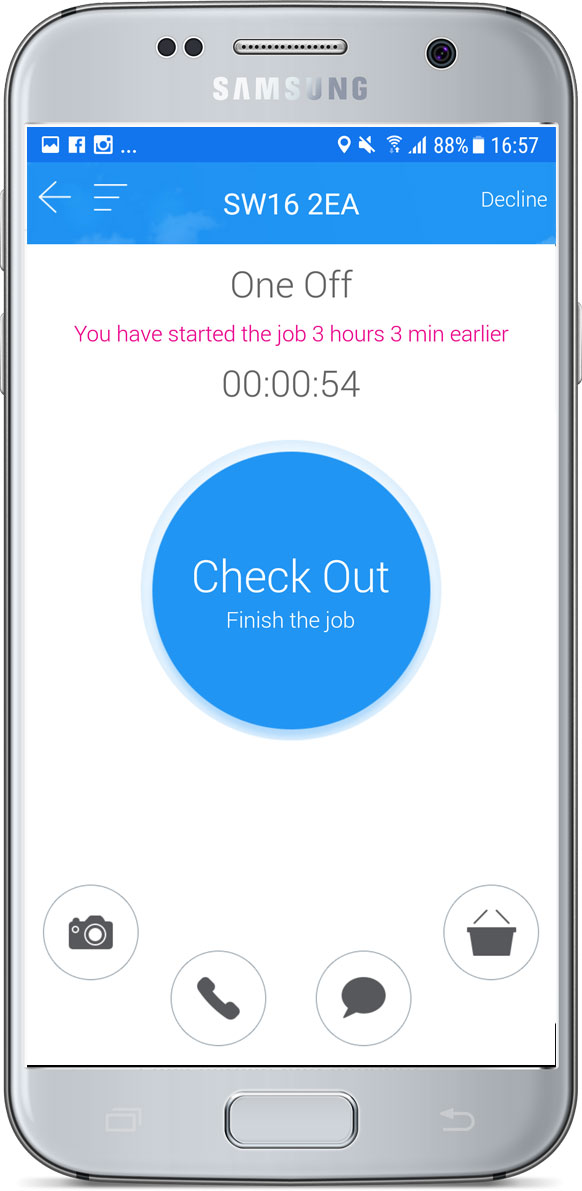 Job check out screen
