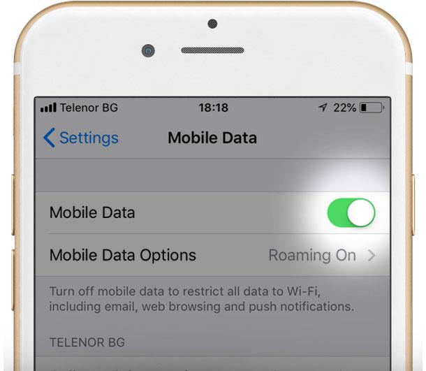 Екран показващ настойки за Мобилни данни