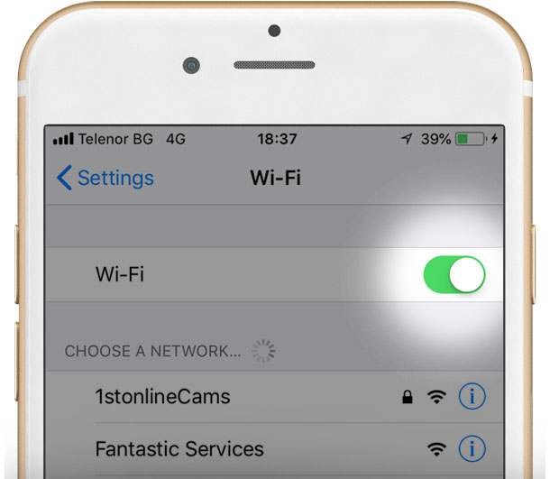Screen showing iPhone Wi-Fi settings