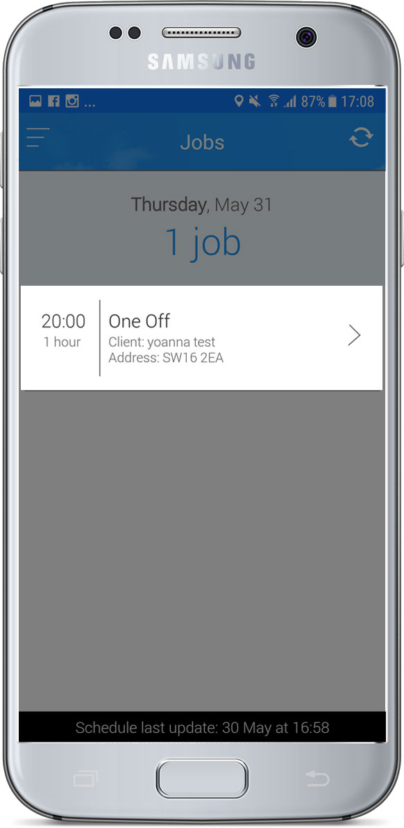 Jobs screen