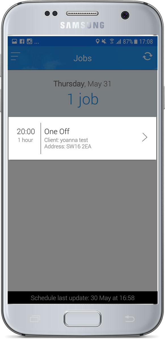 Jobs screen