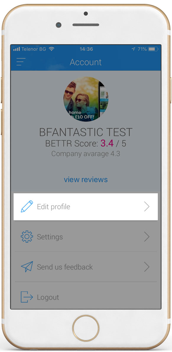 Screen showing Bfantastic user account