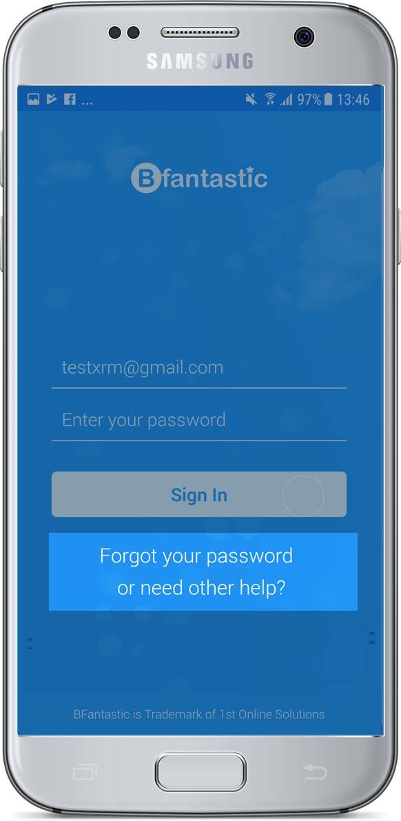 Bfantastic app login screen