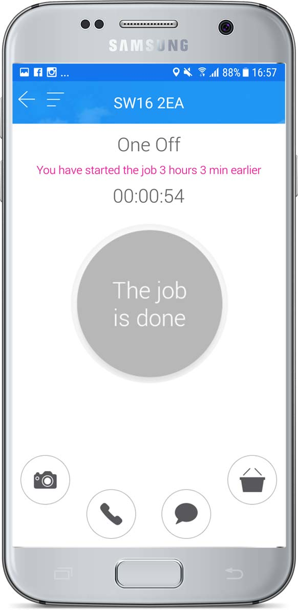 Job completed screen