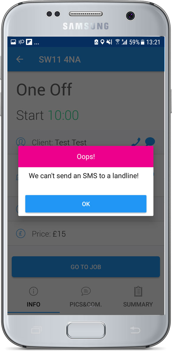 We can't send a SMS to a landline message