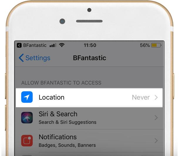 iPhone Bfantastic app access settings