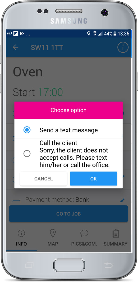 Client doesn't accept calls